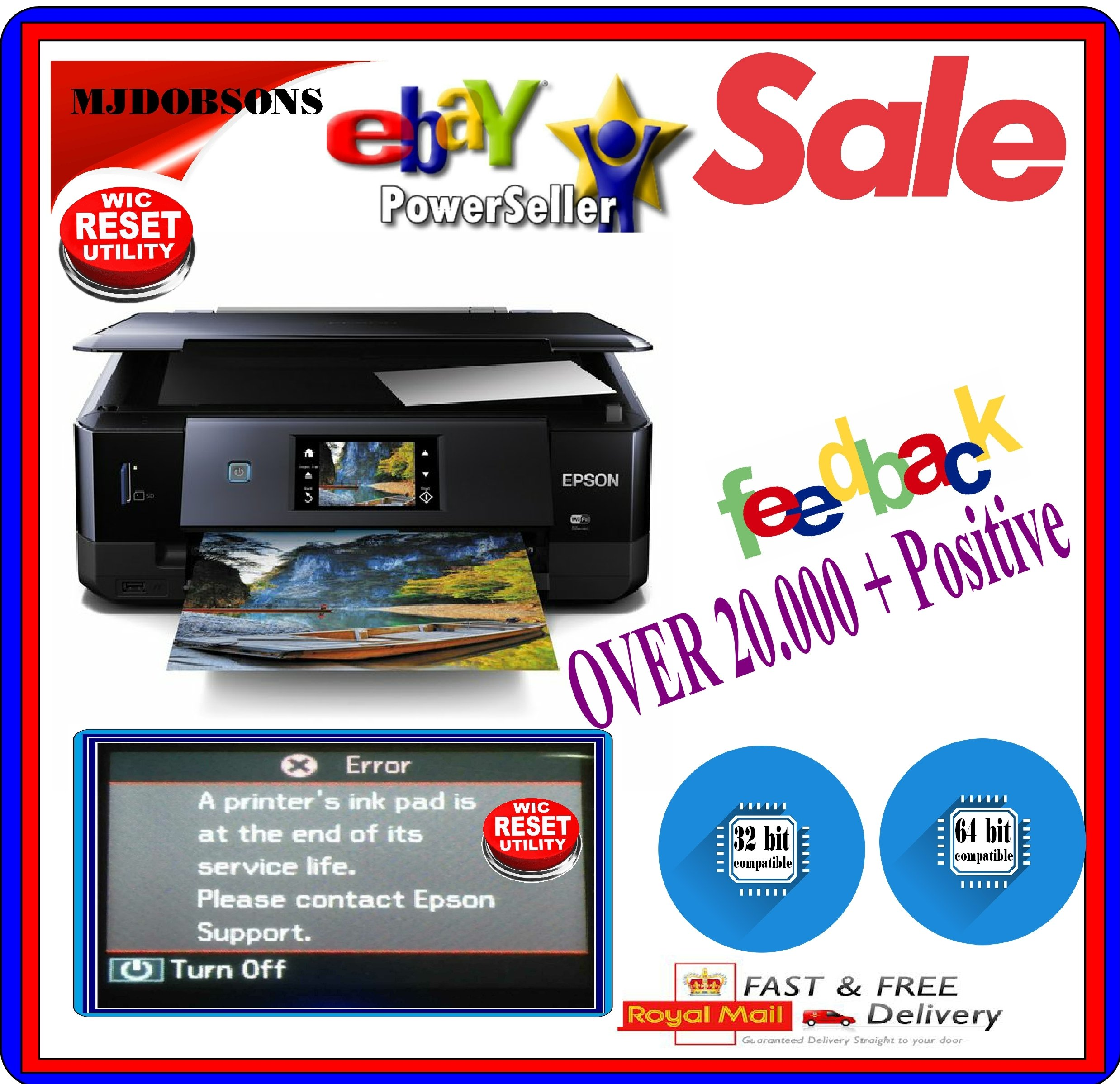 Details about EPSON PRINTER RESET FOR EPSON WASTE  INK PADS SERVICE  ERROR  FAULT KEY DOWNLOAD